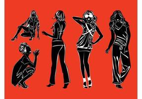 Pack de silhouettes de modèles de mode