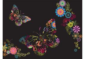 Bloemen En Vlinders Achtergrond