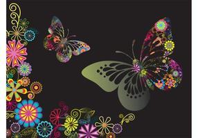 Kleurrijke Bloemen En Vlinders