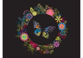Disposition des fleurs et des papillons