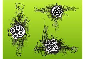 Floral Grunge Ornaments