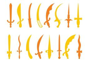 Siluetas de espadas antiguos