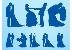 Marriage-silhouettes-set-vector
