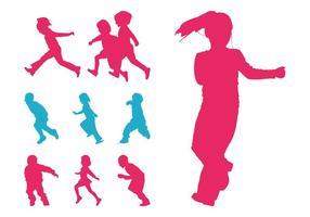 Correndo silhuetas de crianças