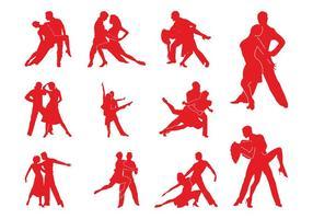 Siluetas de parejas de tango
