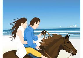 Lyckligt par på häst