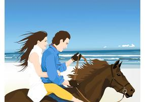 Gelukkig Paar Op Paard