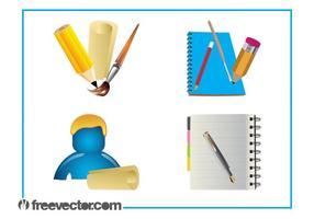Schreibwaren-Grafik-Set