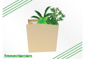 Plantas en la bolsa de papel