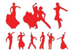 Siluetas de bailarines de flamenco