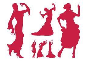 Flamenco bailarina siluetas