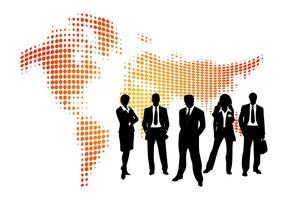 Affärsmän och karta