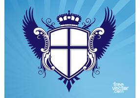 Escudo con alas y corona