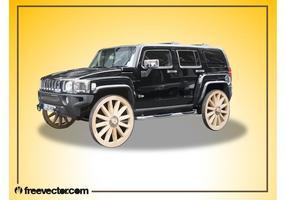 Hummer avec des roues en bois