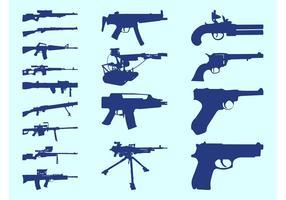 Conjunto de siluetas de armas