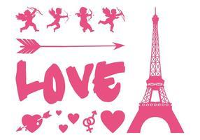 Conjunto de gráficos amorosos