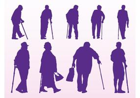 Silhouettes de personnes âgées