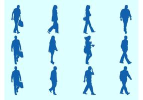 Ilustrações de walking people silhouettes