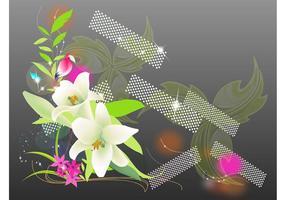Exotische Blumen und Papagei