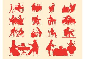 Vintage Mensen Silhouet Set