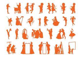 Conjunto de siluetas de personas de la vendimia