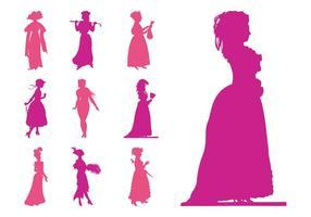 Siluetas de las mujeres retro