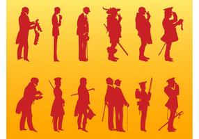 Ilustrações de vintage men silhouettes