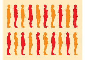Standing People Silhouettes Set