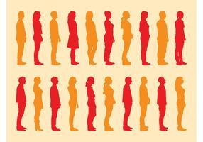 Conjunto de siluetas de personas de pie