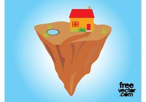 Haus auf schwimmenden Felsen