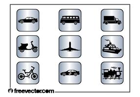 Iconos de transporte cuadrado