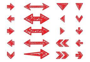 Conjunto de flechas dibujadas a mano
