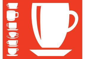 Silhuetas de copos de café