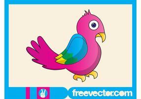 Färgglada fågelkaraktär