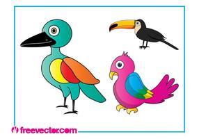 Pássaros exóticos de desenhos animados