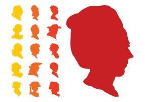 Conjunto de siluetas de caras