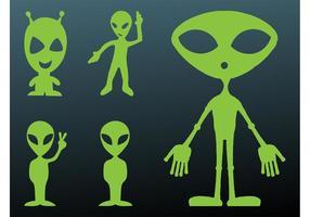 Happy Aliens Silhouettes