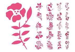 Ensemble de silhouettes de fleurs