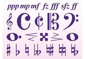 Conjunto de símbolos musicais