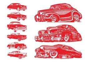Vintage auto's ingesteld