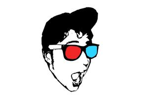 Menino com óculos 3D