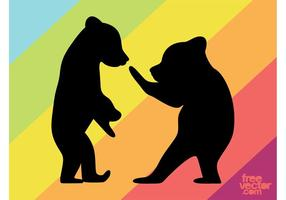 Bear Cubs Silhouettes