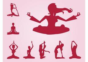 Meditating Girls Silhouettes