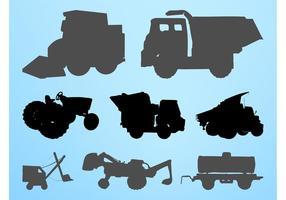 Construction Vehicles Silhouettes Set