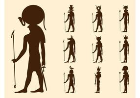 Egyptiska gudar silhuetter