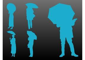 Pessoas Com Guarda-chuvas