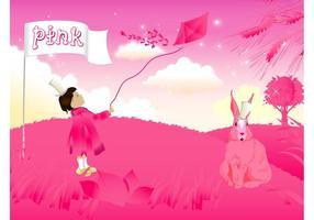 Menina rosa e coelho