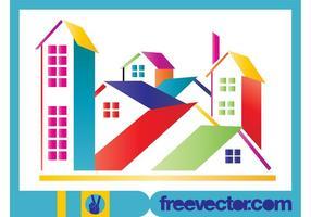 Stilisierte bunte Häuser