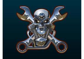 Metall Schädel und Schraubenschlüssel