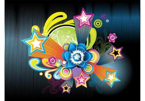 Stars And Flowers Background